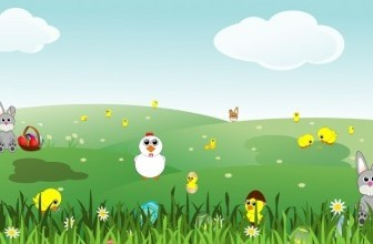 Vector Easter Landscape With Bunnies, Chicks, Eggs, Chicken, Flowers Vector Clip Art
