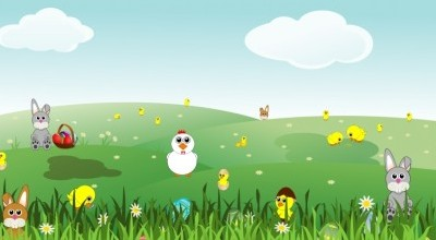 vector easter landscape with bunnies chicks eggs chicken flowers
