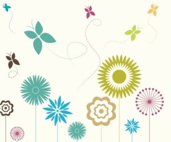 Vector Flowers And Butterflies Flower Vector Art