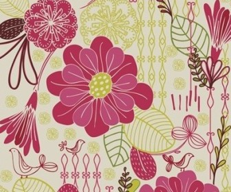 Vector Retro Pattern Seamless Background Floral Vector Art