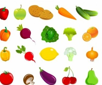 Vector Set Of Fruit And Vegetables Vector Art