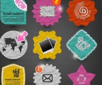 Vector Paper Label Stickers 01 Vector Art