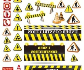 Vector Road Warning Signs Vector Art