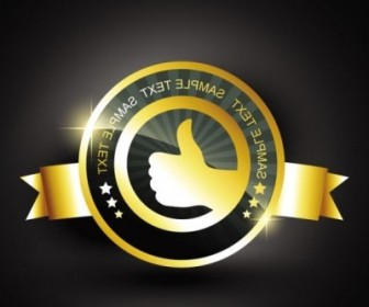 Vector Gold Badge Labels 02 Vector Art