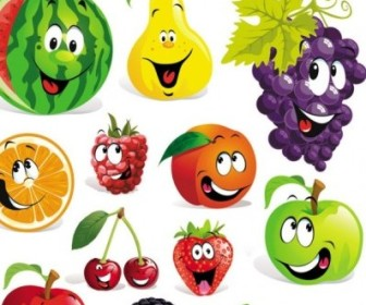 Vector The Fruit Facial Expressions Cartoon Vector Art