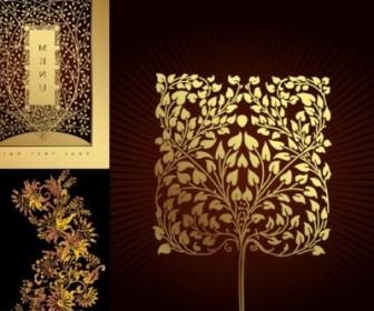Vector Golden Tree Pattern Vector Art