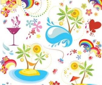 Vector Summer Fun Dynamic Element Vector Art