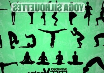 Vector Yoga Silhouettes Vector Graphics