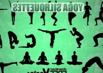 Vector Yoga Silhouettes Vector Graphics