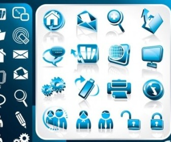 Vector Blue Office Theme Icon Vector Graphics