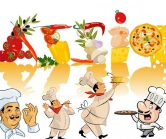 Vector Chefs And Food Clip Vector Art