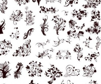 Vector Elements In Different Styles For Design Floral Vector Art