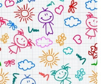 Vector Hand Drawn Kid Pattern Vector Art