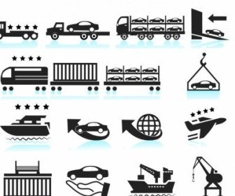 Vector Car Shipping Delivery Set Icon Vector Graphics