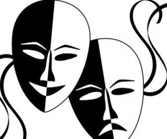 Vector Wasat Theatre Masks Vector Clip Art