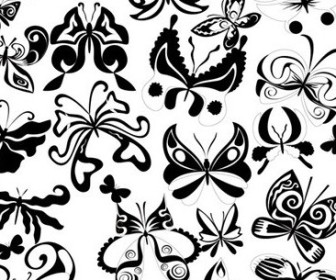 Vector Black And White Butterfly Element Vector Art