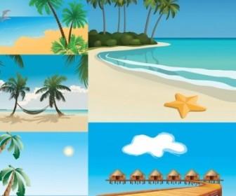 Vector 5 Seaside Scenery Vector Art
