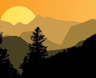 Vector Mountain Sunset Vector Art