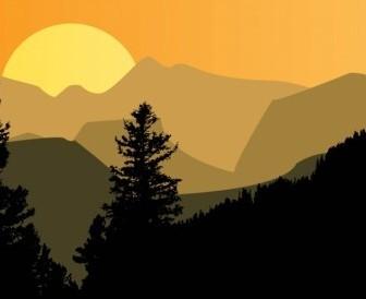 Vector Mountain Sunset Vector Art