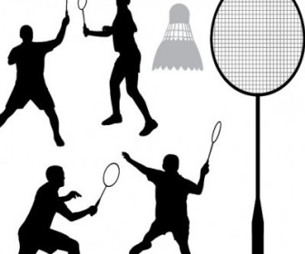 Vector Badminton Silhouette Silhouettes Vector Graphics