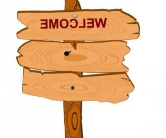 Vector Wood Sign 01 Cartoon Vector Art