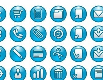 Vector Blue Buttons Icon Set Web Design Vector Graphics