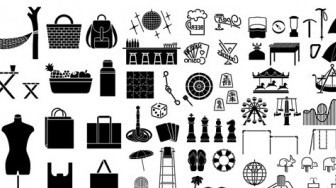 Vector Various Of Silhouette Recreation 58 Elements Silhouettes Vector Graphics