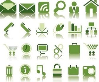 Vector Green Icon Set Web Design Vector Graphics