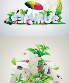 Vector Fonts Beautifully Designed Posters Vector Art