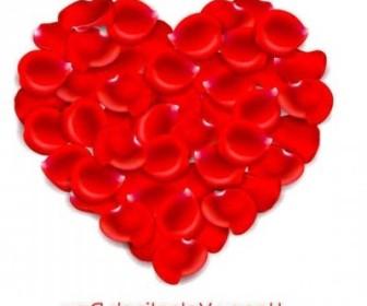Vector Red Love Petal Background Vector Art
