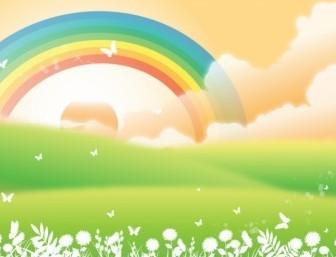 Vector Rainbow Landscape Vector Art