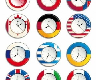 Vector Clock With Different National Flags Icon Vector Graphics