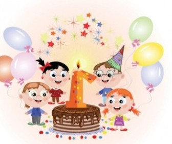 Vector Birthday Cards 01 Cartoon Vector Art