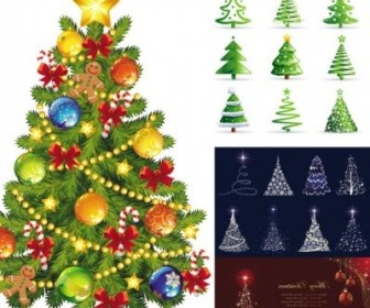 Vector Beautiful Tree Christmas Vector Graphics
