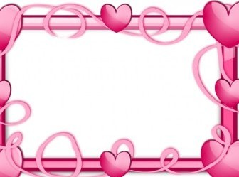 Vector Pink Hearts Frame Vector Clip Art