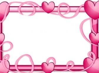 Vector Pink Hearts Frame Vector Clip Art