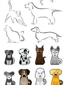 Vector Stick Figure Dog Cartoon Vector Art