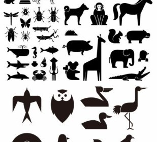 Vector Various Of Silhouette Animal 49 Elements Silhouettes Vector Graphics