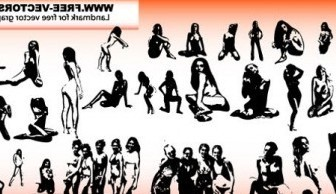 Vector Sexy Girls Silhouettes People Vector Art