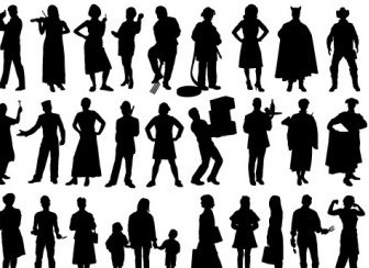 Vector Silhouette People Vector Art