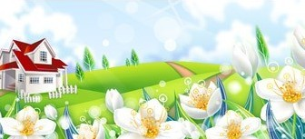 Vector Vila On The Hill Grass White Flower Landscape Vector Graphics