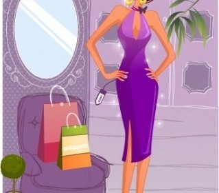 Vector Fashion Women Shopping 10 People Vector Art
