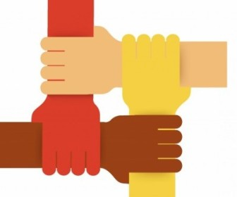 Vector Four Colours Teamwork Hands Vector Art