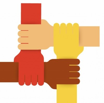 Vector Four Colours Teamwork Hands Vector Art - Ai, Svg, Eps Vector Free Download