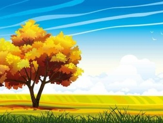 Vector Cartoon Landscapes Trees Background Vector Art