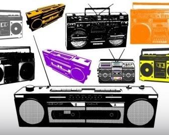 Vector Different Radio & Music System Vector Art
