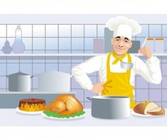 Vector European And American Kitchen Cooking Clip Vector Art