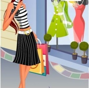 Vector Fashion Women Shopping 14 People Vector Art