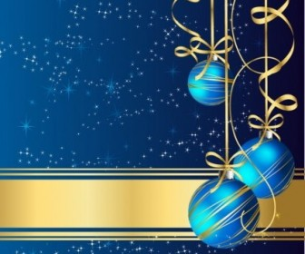 Vector Greeting With Blue Balls Christmas Vector Graphics