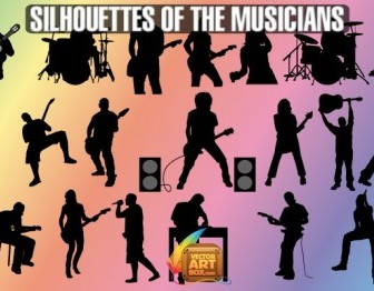 Vector Musicians Silhouettes Vector Graphics